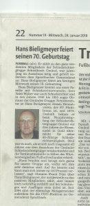 Bieligmeyer, Hans 24.01.18 RZ Bericht zum 70.